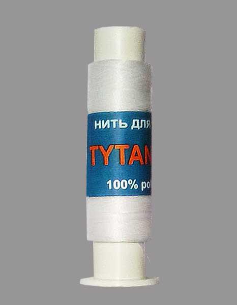Нить для бисера TYTAN 100, белая, длина 100 м, диаметр 0,1 mm, 100% полиестер, в катушке.